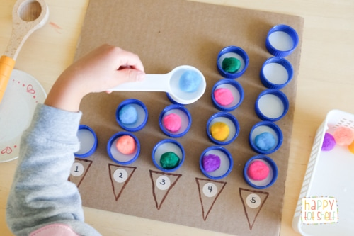 Bottle Caps and Pompoms Counting Activity for Toddlers