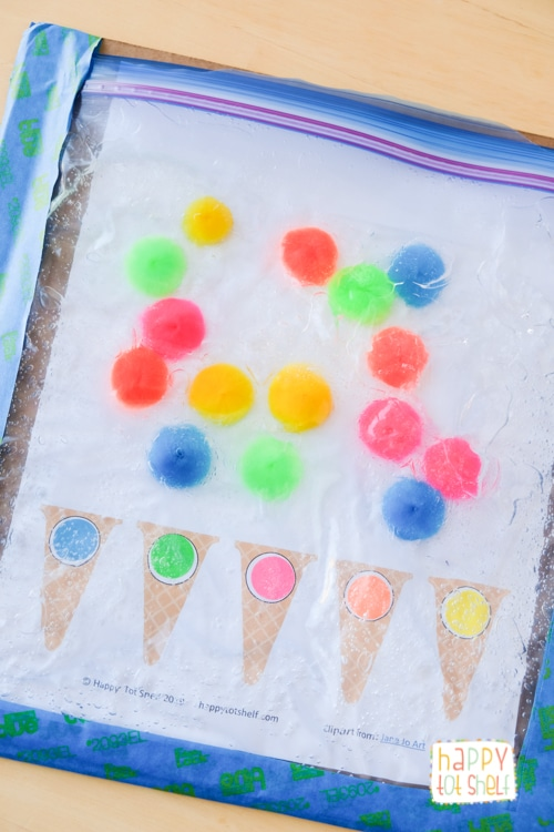 Fun sensory bag for children to learn color matching