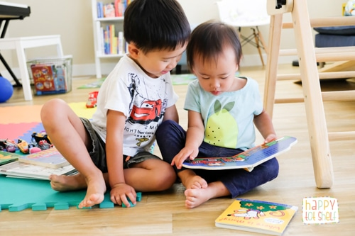 Kids reading together