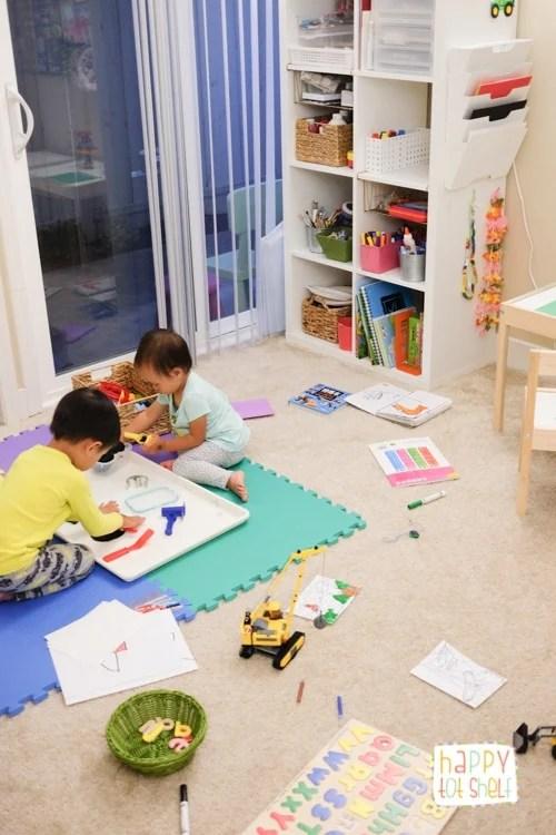 young children creating art in homeschool room