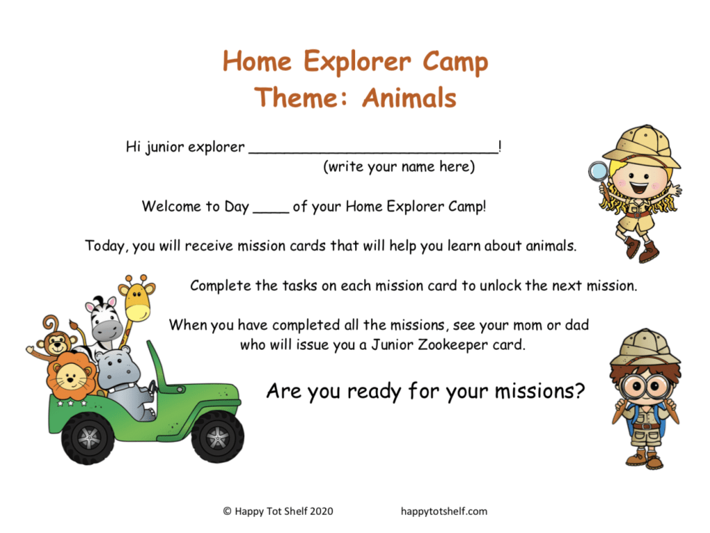 Animal theme learning activities for kids