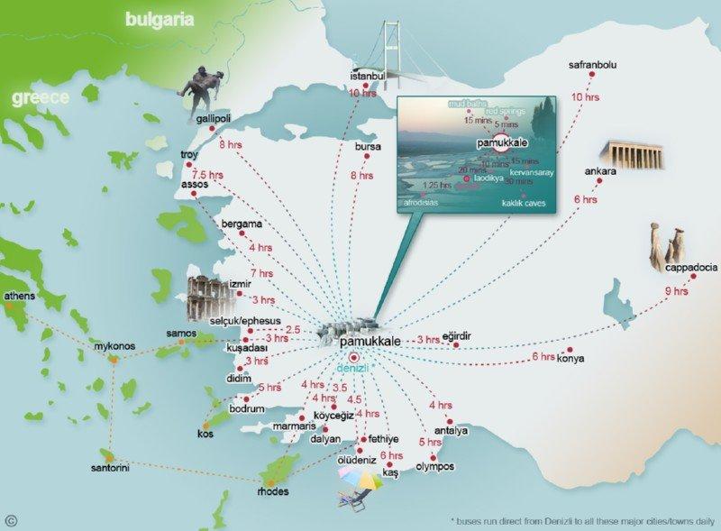 Как самостоятельно добраться до Памуккале — расстояния от курортов Турции