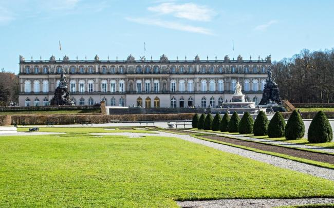 The front gardens of Herrenchiemsee New Palace in Bavaria, Germany