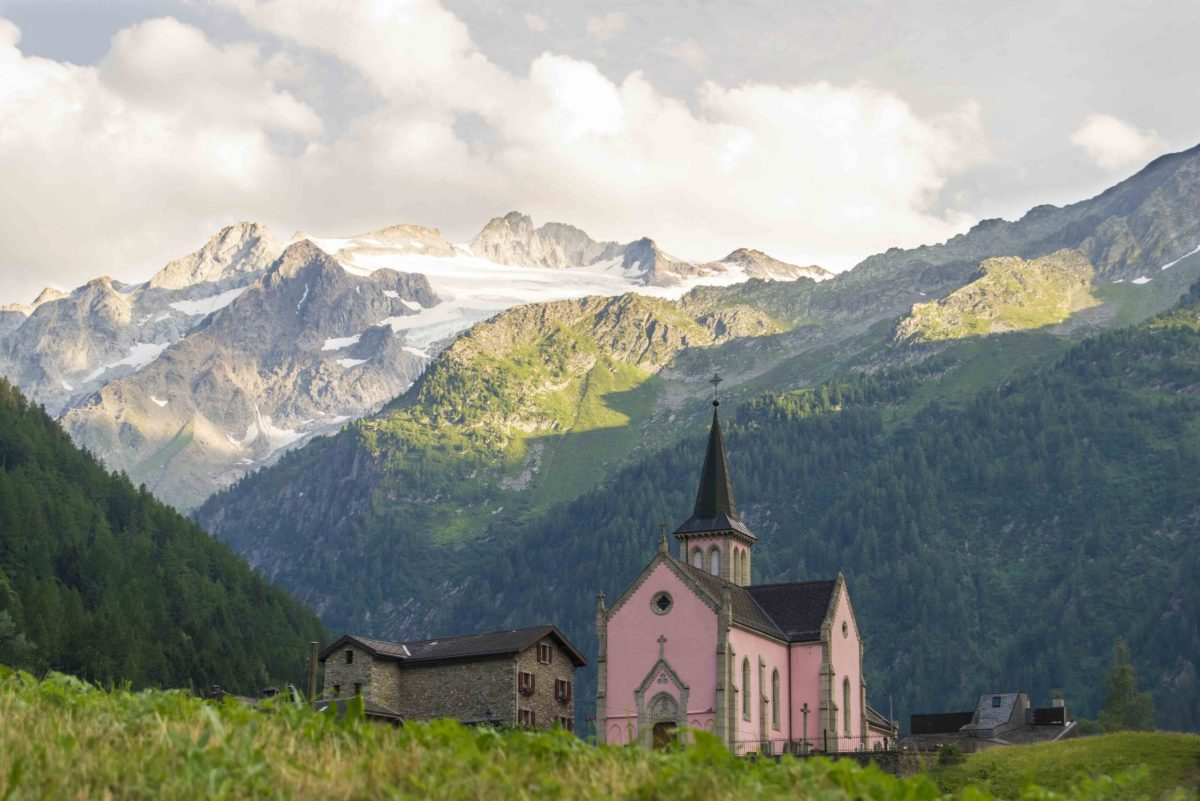 Trient with its pink church