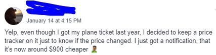 Olympic Flight Price Drop Notification