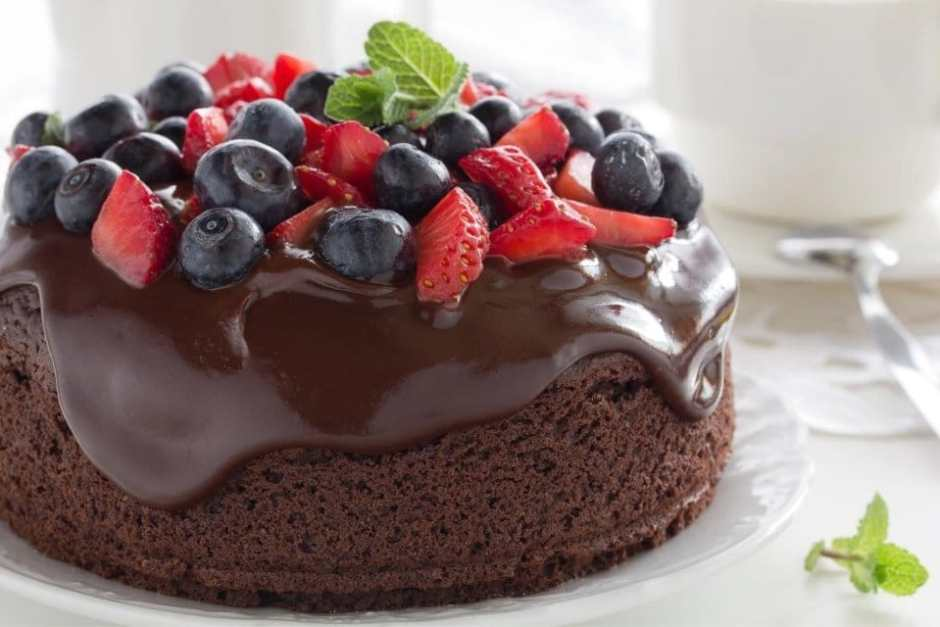 GF vegan chocolate cake with berries