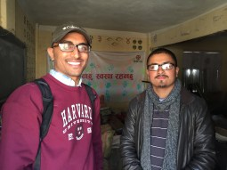 Me with HAPSA-Nepal president visiting our hand-hygiene project
