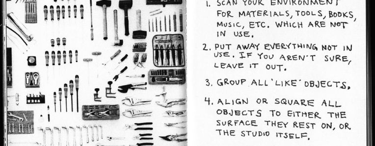 A page from Tom Sachs' Ten Bullets Zine describing knolling