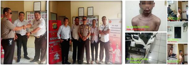 Kapospol Taman Ubud Aiptu Suhanda saat memberikan penghargaan kepada CB Agus Dansek, PHL Pospol Ubud Culik dan Aji (kiri), Berry Agus Dansek, Kapospol Ubud Aiptu Suhanda PHL Culik dan Aji (tengah), pelaku curanmor beserta barang bukti (kanan).