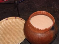 Clay pot with traditional beer