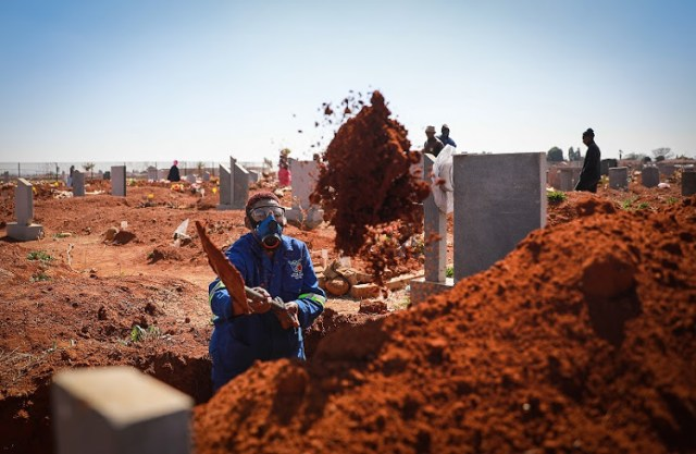 Nomtu Magalela is the only female grave digger in her team of four at Cambrian Cemetery in Boksburg, Ekurhuleni. Image: Sebabatso Mosamo