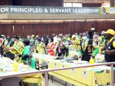 Central Committee members dance before the start of the 113 Ordinary Session of Zanu PF's Central Committee