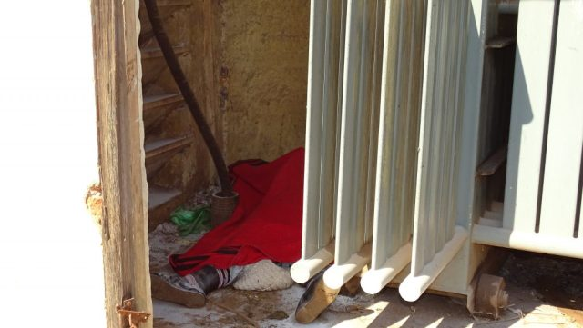 THE lifeless body of the woman covered in a red blanket