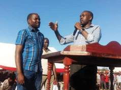 John Mahlabera being introduced by Nelson Chamisa at an MDC rally in Chiredzi