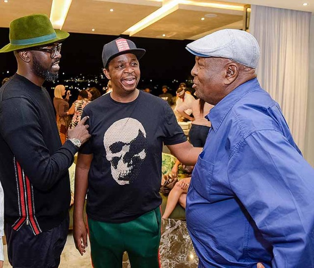 Legends … Esaph Mdlongwa with DJ Black Coffee and Oskido during a trip to South Africa last year