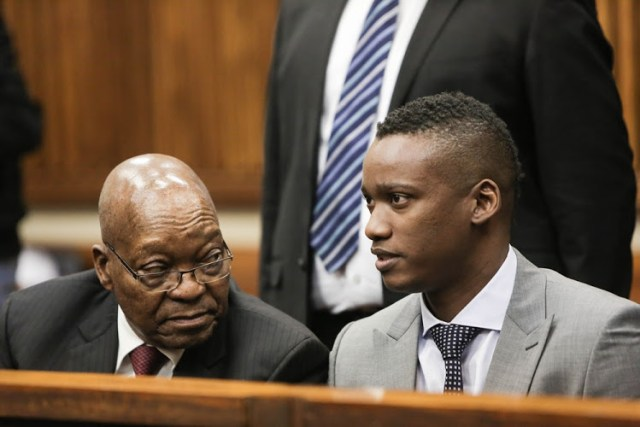 Former president Jacob Zuma sits next to his son Duduzane Zuma at the Randburg Magistrates court in Johannesburg, where the son of the former statesman is facing a culpable homicide charge for crashing his Porche into a taxi in 2014. Picture: Alaister Russell/The Sunday Times