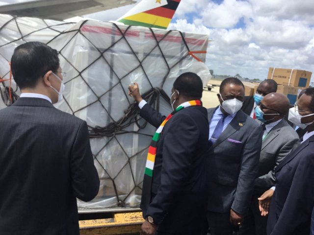 President Emmerson Mnangagwa takes delivery of the second batch of covid-19 vaccines from China at Robert Gabriel International airport today: Picture by George Charamba Twitter