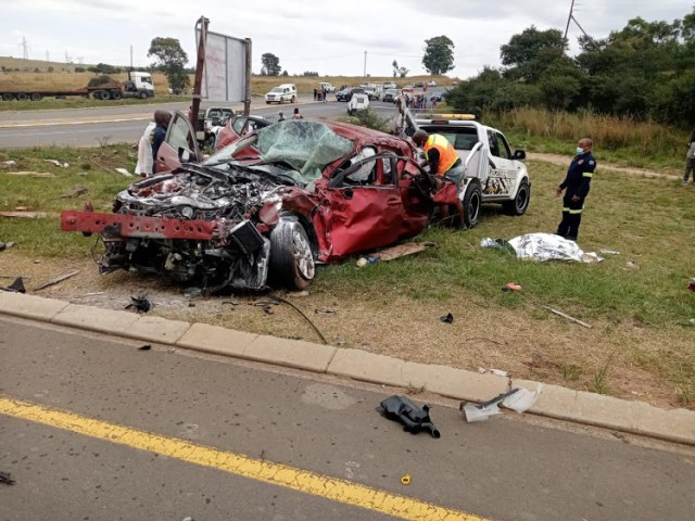 Six of the 10 people who were killed when this Mazda 3 collided with a bakkie on the R34 in Vryheid on Tuesday were related. Image: Supplied