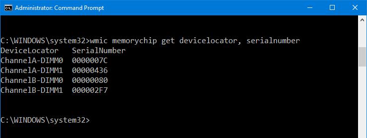wmic memorychip get devicelocator, serialnumber