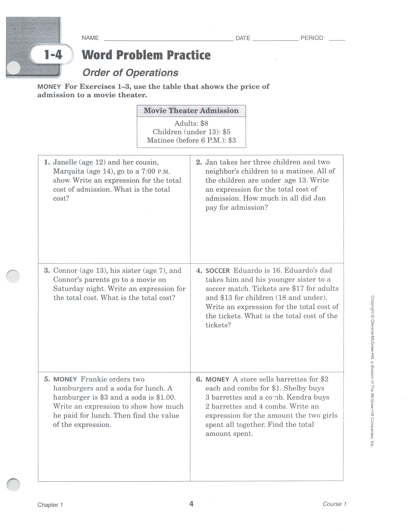 6th Grade Math Worksheet Order Of Operations