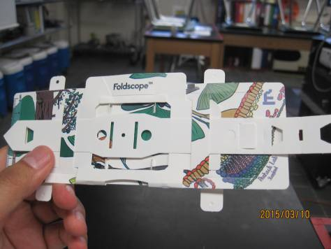 Foldscope built by Jose Martinez, Marine Research Scholar.