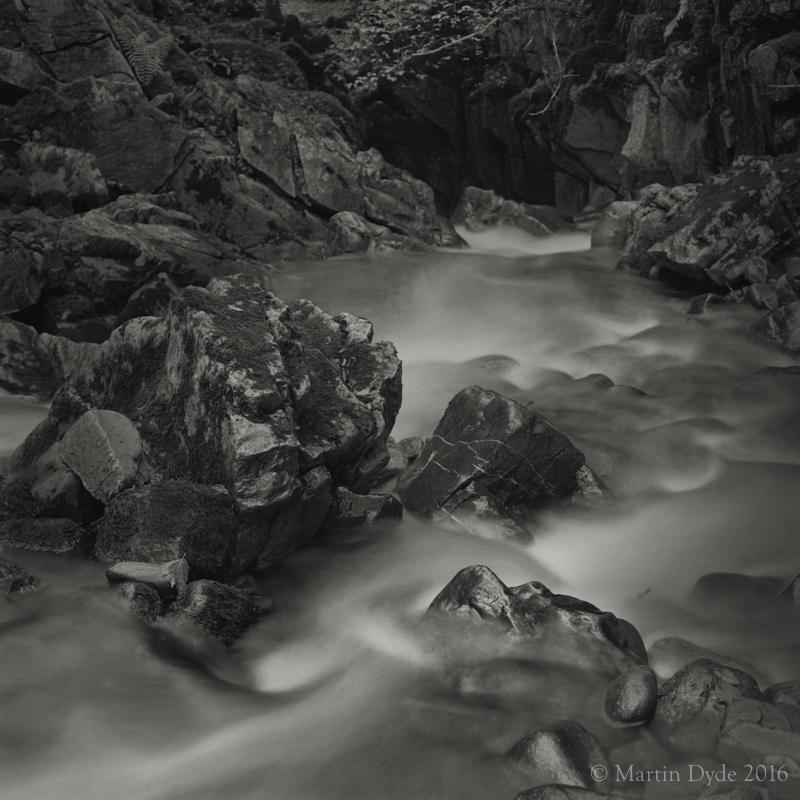 Stream plunging into limestone cave, Afon Nedd at Cwm Pwll-y-Rhy