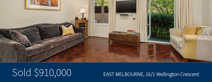 16/1 Wellington Crescent, East Melbourne - Sold for $910,000