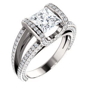Princess Cut Tension Engagement Ring