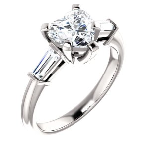 Three Stone Heart Cut Engagement Ring