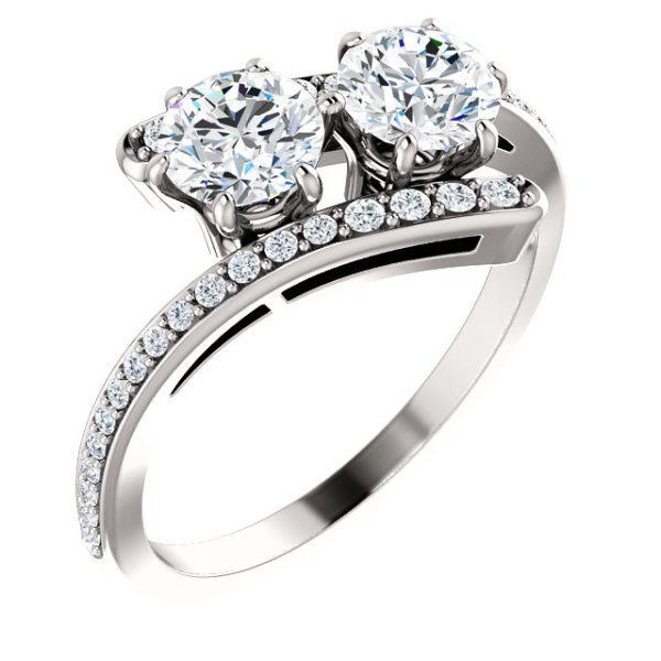 Two-Stone Accented Engagement Ring