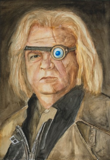 Mad Eye Moody, watercolor by David Hardesty, 16 x 11