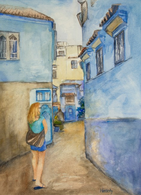 Chefchaouen, by David Hardesty, watercolor, 15 x 11