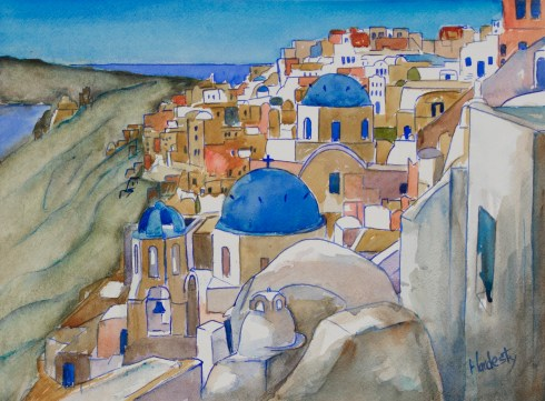 Santorini, watercolor, by David Hardesty, 11 x 15