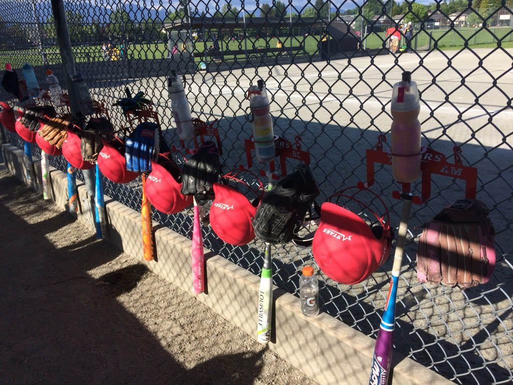 Softball Gear Organizers in the Dugout
