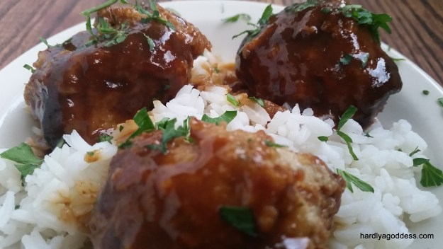 Saucy Hoisin Chicken Meatballs | Hardly A Goddess