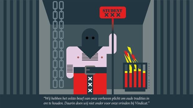 Beul met beulskap en ontbloot bovenlijf staat in kelder naast vuurkorf. In zijn een roodgloeiend stempel met tekst: student. In onderste deel van de stempel de drie kruizen van het Amsterdams logo. Achter de beul hangen twee kettingen.