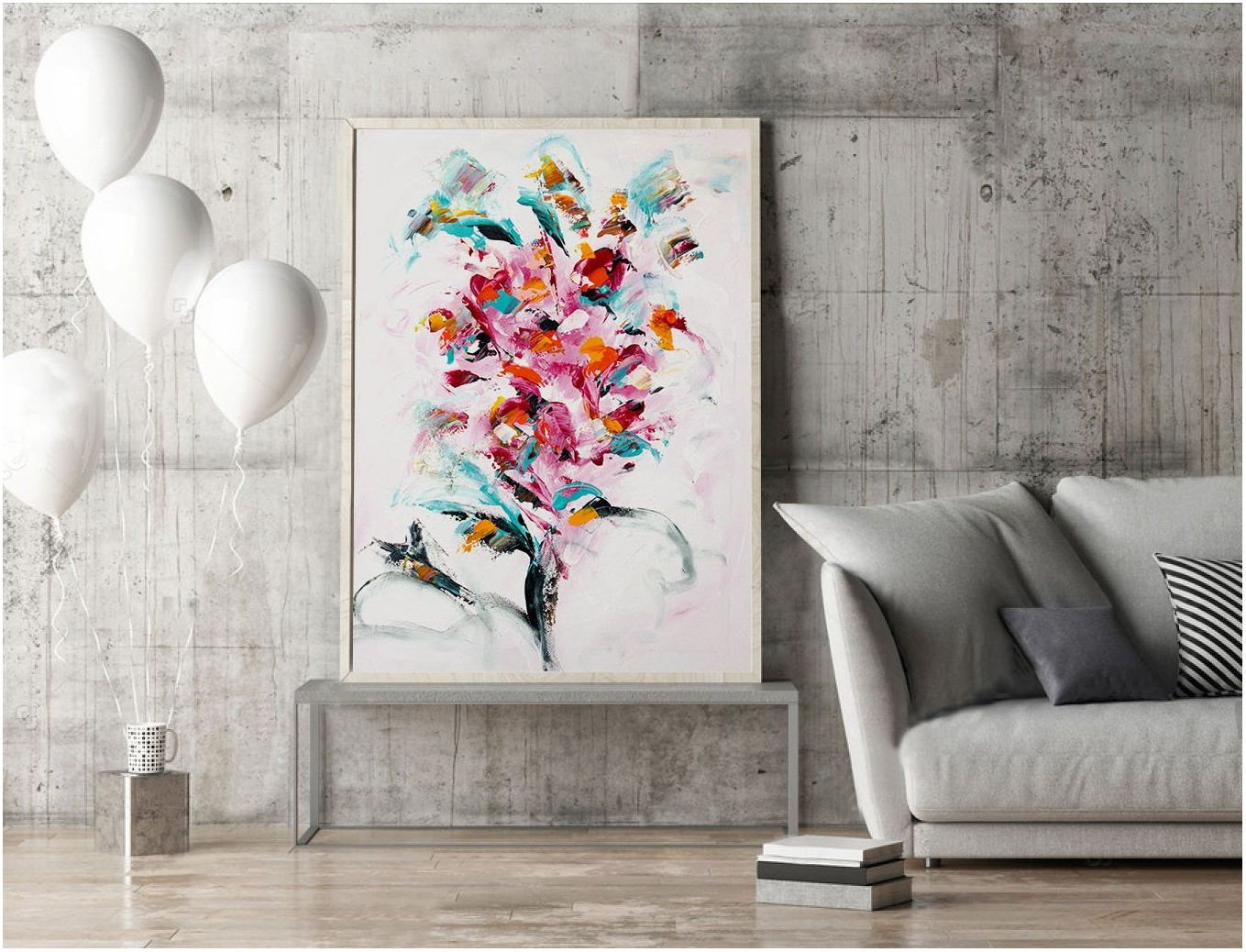 Abstract Flower Painting Living Room