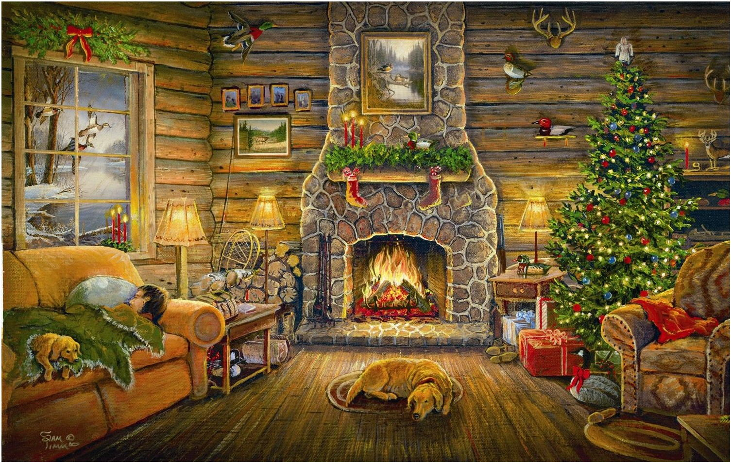 Christmas Living Room Scene Paintings
