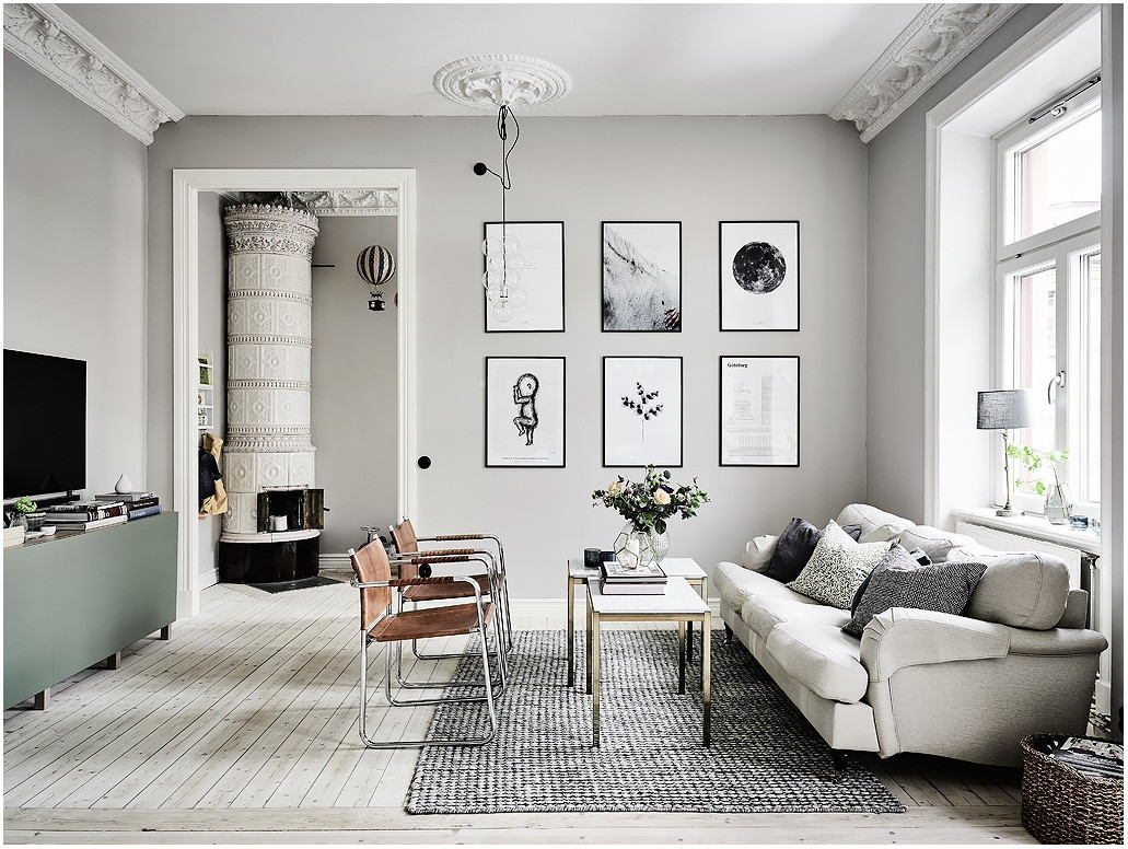 Grey Walls And White Interior Living Room