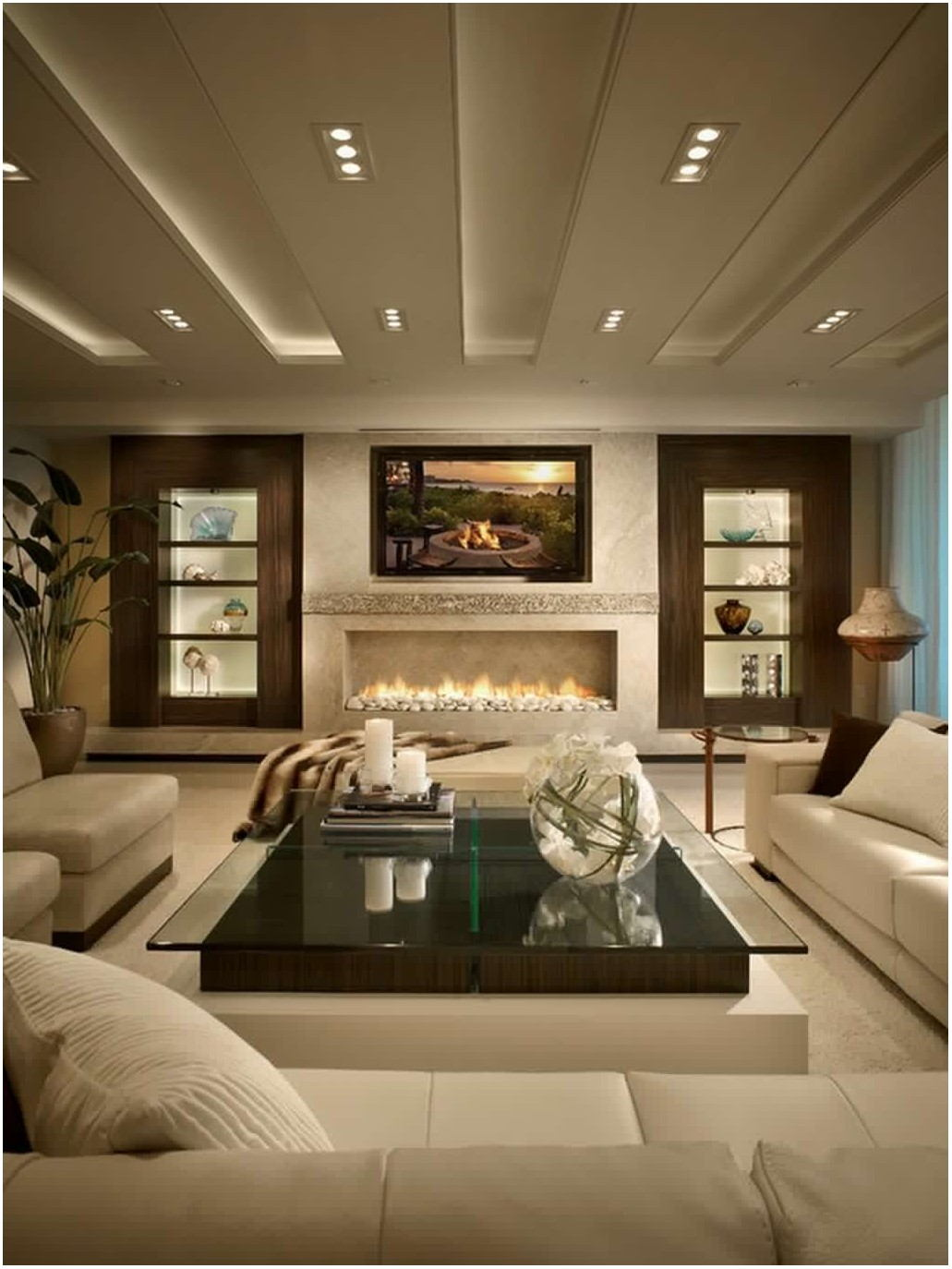 Interior Design Living Room With Fireplace