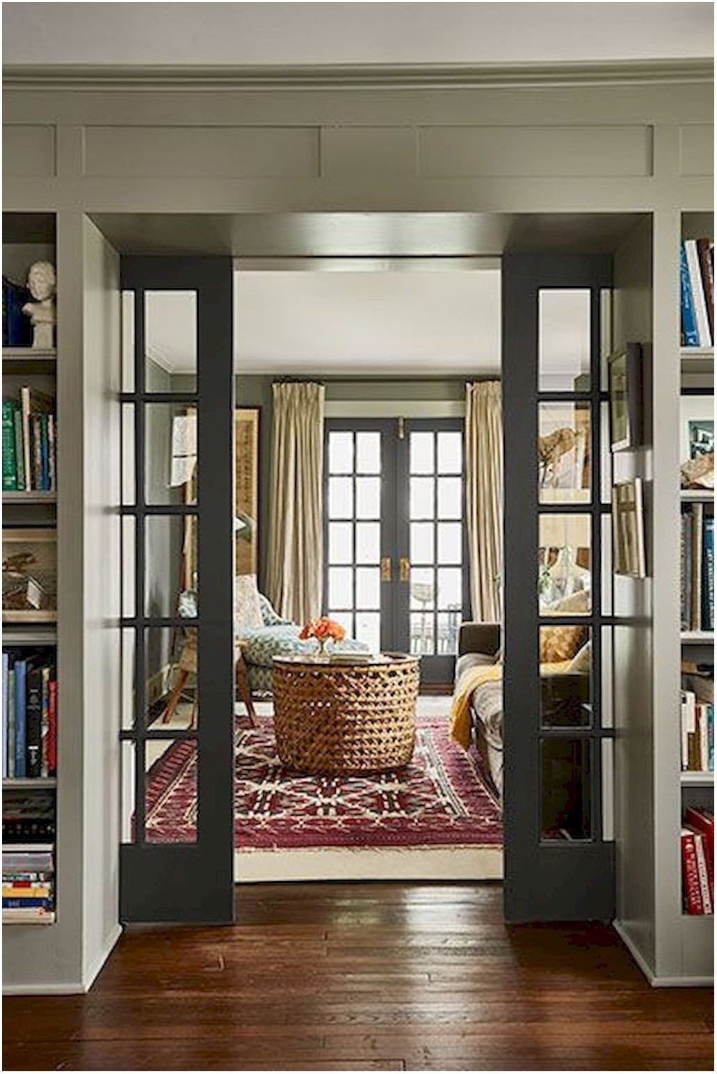 Living Room Interior French Doors