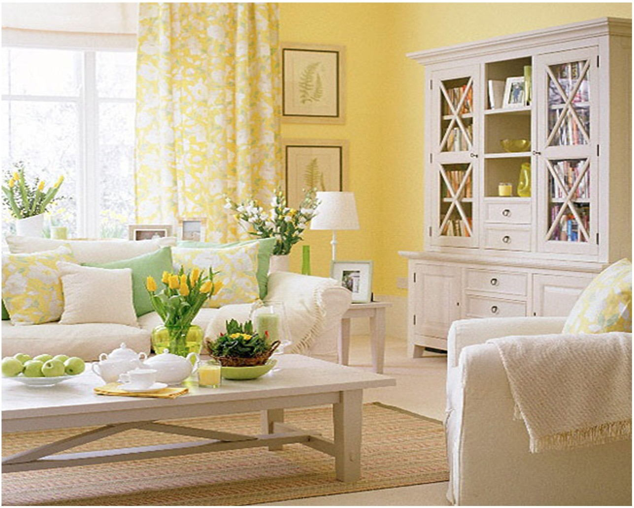 Plants In Living Room Yellow Paint