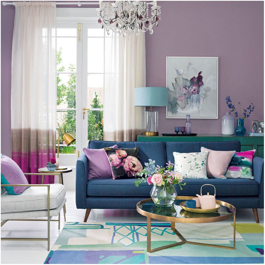 Purple Living Room Interior Design Ideas