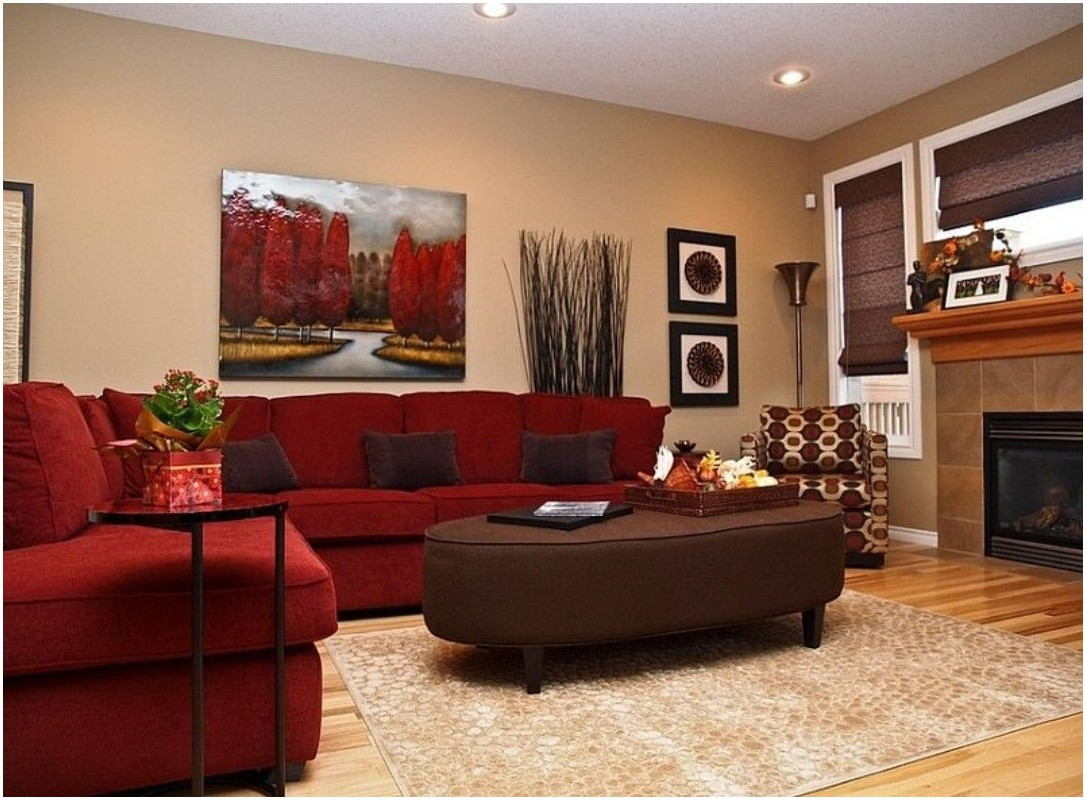 Red And Brown Living Room Interior Design