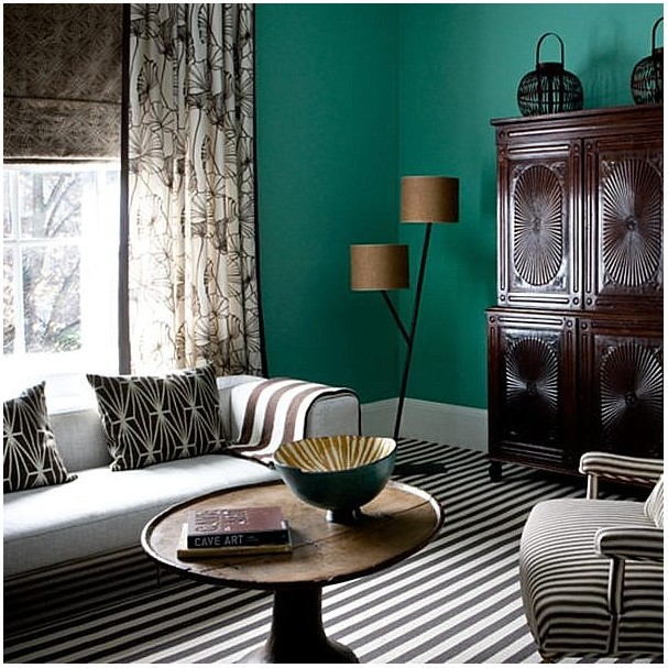 Teal And Brown Living Room Paint