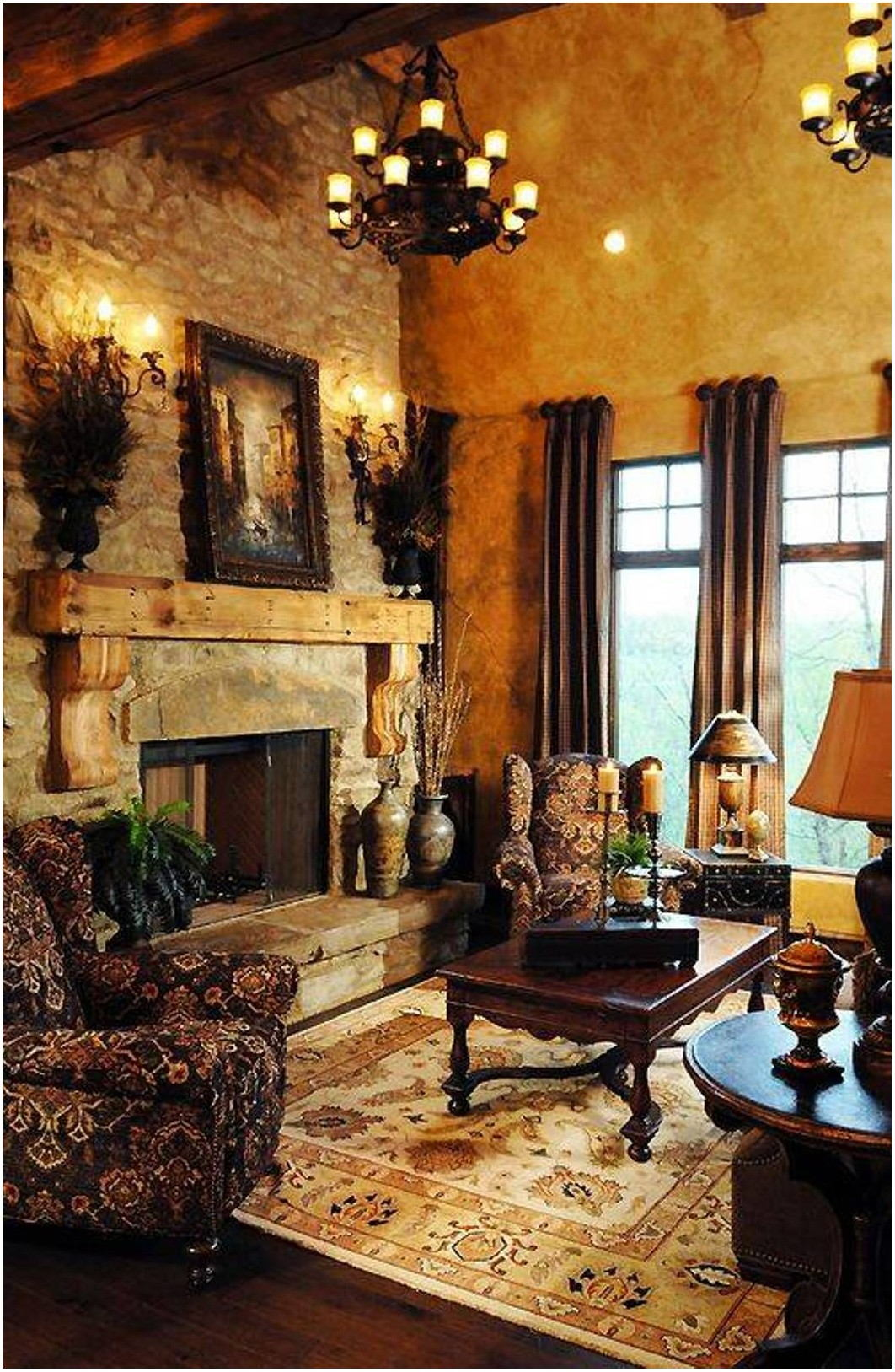 Tuscan Living Room Interior Design