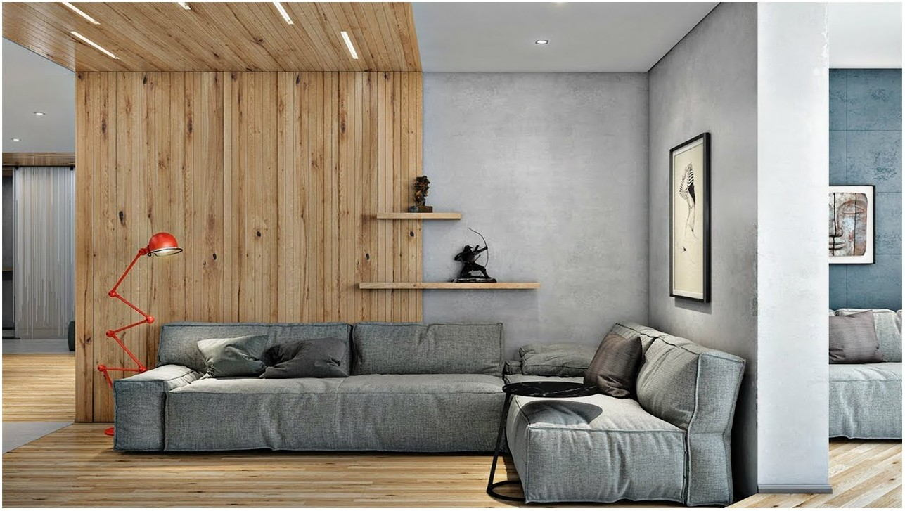 Wood On Wall Interior Living Room
