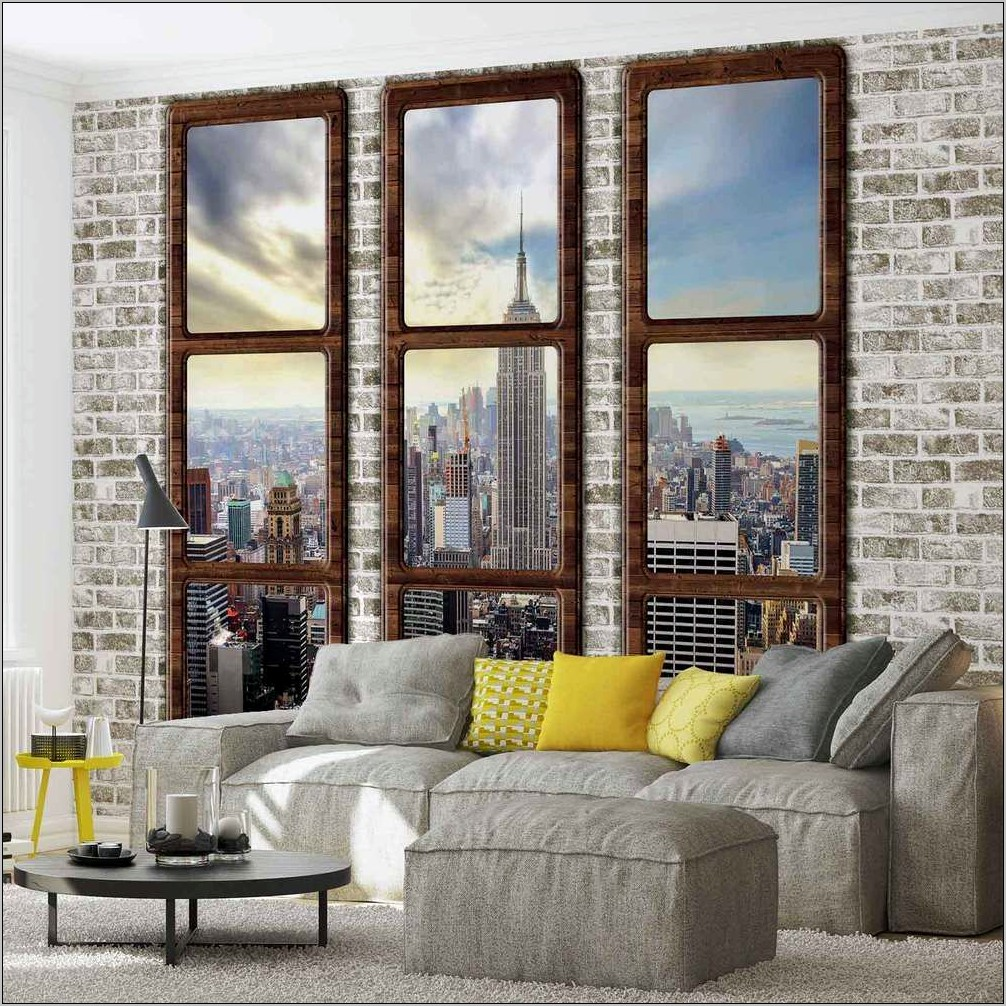 City Panoramic Accent Wallpaper Ideas Dining Room
