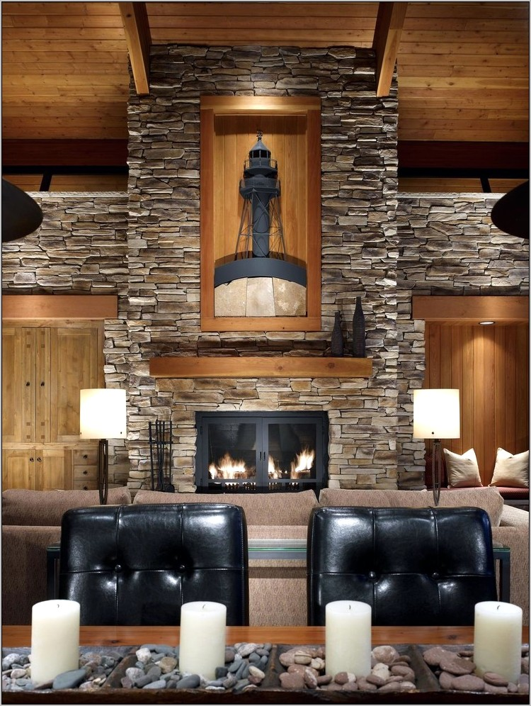Decorative Stone Wall In Dining Room
