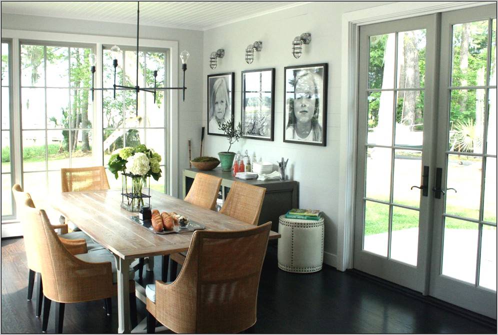 Rustic Dining Room With White Walls Ideas
